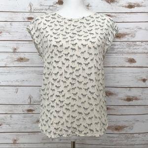 H&M Zebra Print Blouse Size 2 XS